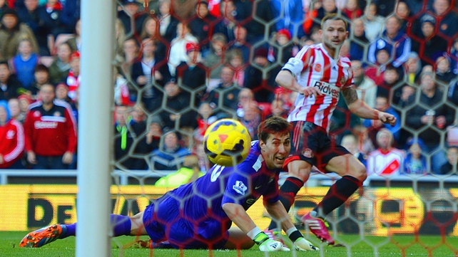Sunderland's Phil Bardsley scores past a stranded Costel Pantilimon of Manchester City