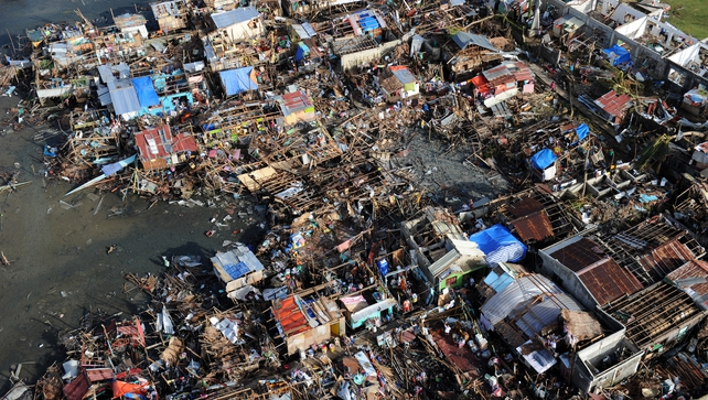 An aerial photo shows destroyed houses in the town of Guiuan in eastern Samar province