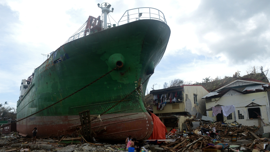 A ship washed ashore in the aftermath of Super Typhoon Haiyan at Anibong in Tacloban