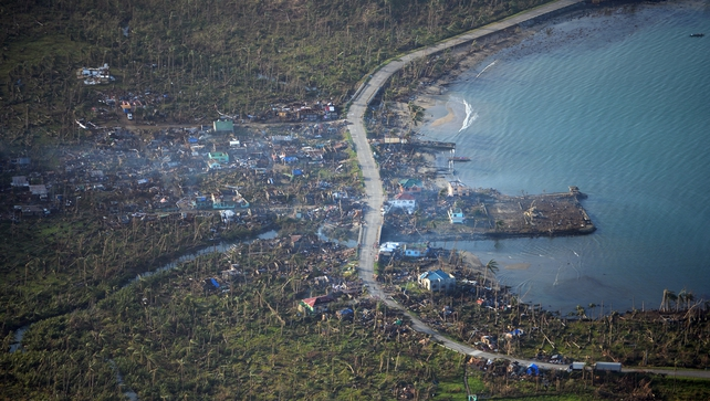 An ariel photo shows devastation along the coast in Eastern Samar province, central Philippines