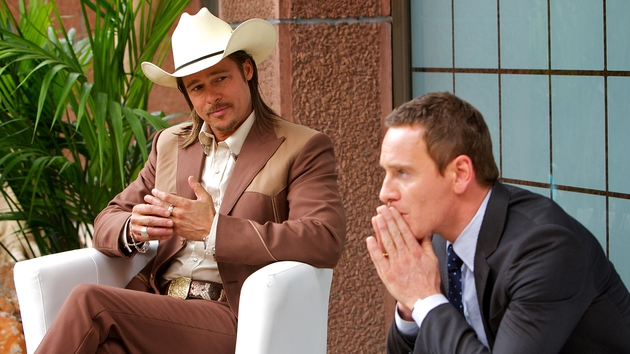 Pitt and Fassbender talk in stilted philosophical quips