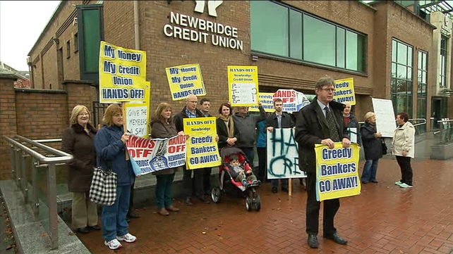 Protesters demonstrated outside Newbridge Credit Union in opposition to the takeover