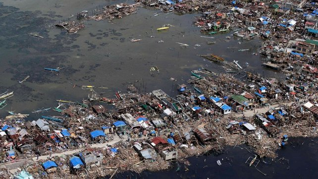 Aerial view of the devastated town of Guiuan, eastern Samar province,