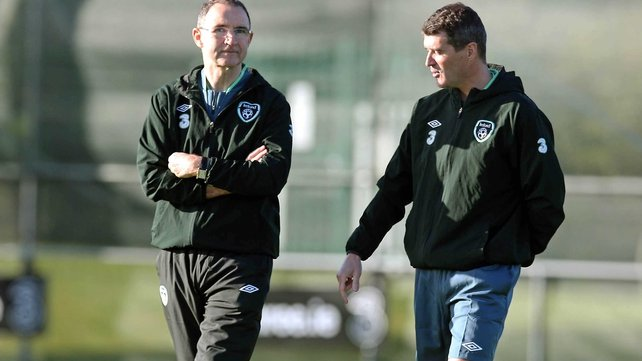 Roy Keane (r) arrived a full 90 minutes before manager Martin O'Neill