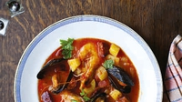 Rich Tomato Shellfish Soup - This soup makes a lovely spicy shellfish broth that is perfect for a cold winter's day. You can also add white fish cut into chunks to this soup at the same time as the mussels.