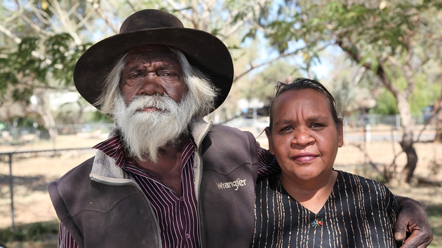 Aborigine elders photographed at one of their impoverished, unsanitary settlements