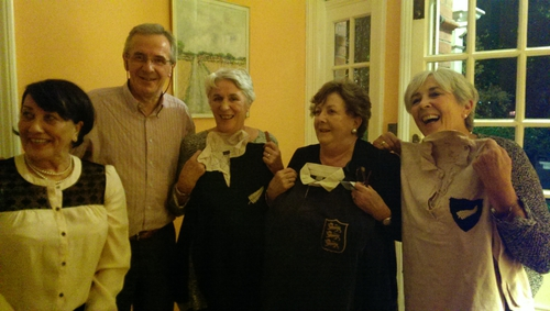 From left to right: Robyn Opie, Michael Dunne's children: Peter Dunne, Annette Driscoll, Elizabeth Governey and Kathryn Golden with the jersey that returned to Ireland this summer. Kathryn holds the white All Blacks jersey.