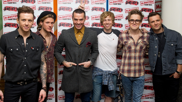 McFly's Danny Jones, Dougie Poynter and Matt Willis and James Bourne of Busted, Tom Fletcher and Harry Judd of McFly