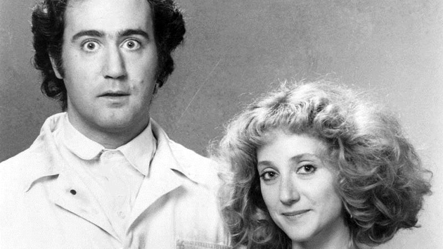 Andy Kaufman as Latka Gravas in a shot from Taxi with Carol Kane as Simka