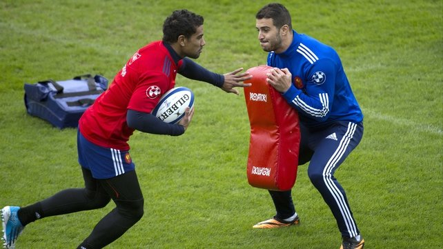 Wesley Fofana (L) and Sofiane Guitoune (R) training in Marcoussis