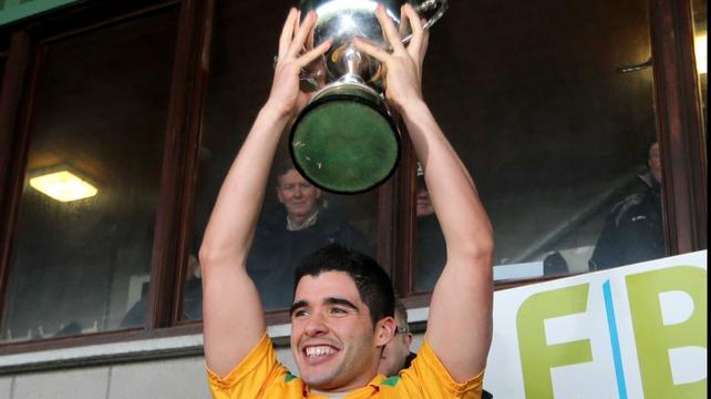 Leitrim's Emlyn Mulligan with the 2013 FBD LEague trophy