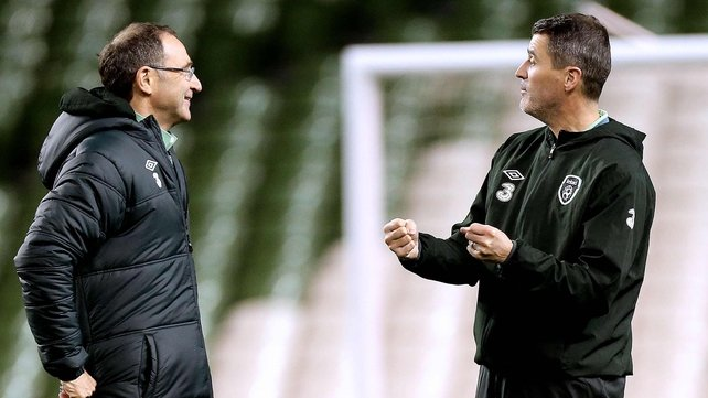 Martin O'Neill and Roy Keane at Ireland training this evening
