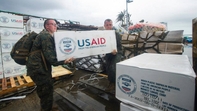 Aid distribution has so far been very slow, but US soldiers have started distributing supplies