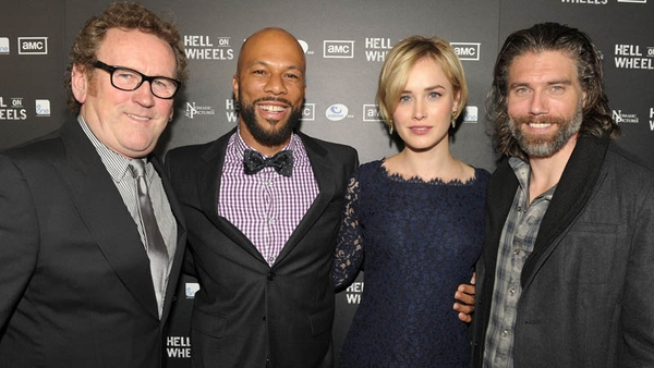Colm Meaney with Hell on Wheels co-stars Common, Irish actress Dominique McElligott and Anson Mount