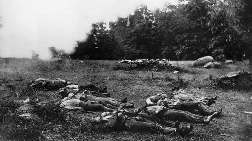 Corpses lying on the battlefield at Gettysburg in Pennsylvania, after the bloodiest battle of America's Civil war, in which nearly 6,000 soldiers died in three days of fighting