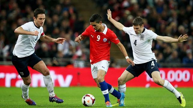 Felipe Gutierrez evades James Milner and Frank Lampard