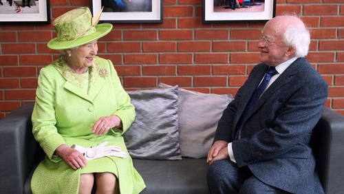 Queen Elizabeth met President Michael D Higgins during a visit to the Lyric Theatre in June 2012 in Belfast