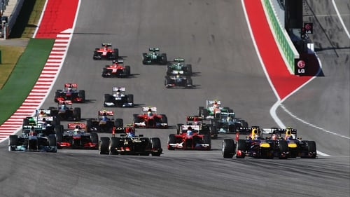 Sebastian Vettel leads into the first corner at Circuit of The Americas