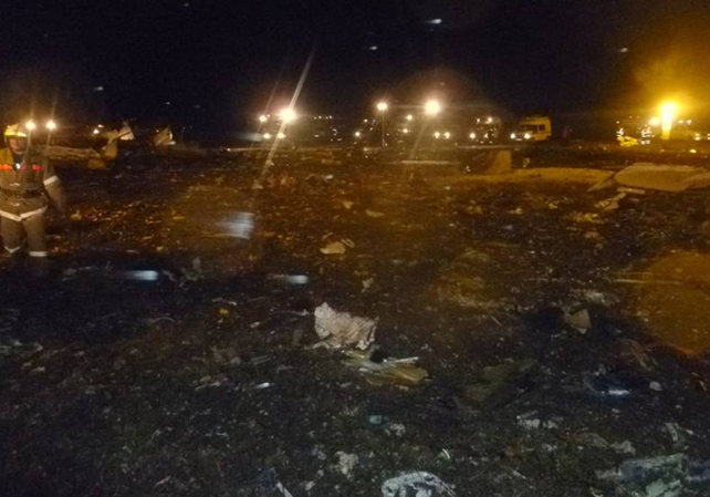 Debris scattered all over runway from explosion