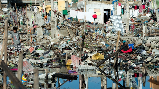 Debris is seen in a Tacloban neighbourhood almost completely flattened by the typhoon