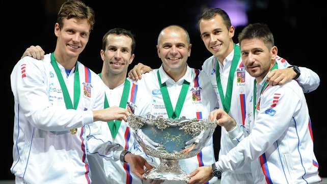 The Czech Republic team celebrate after defending their Davis Cup title
