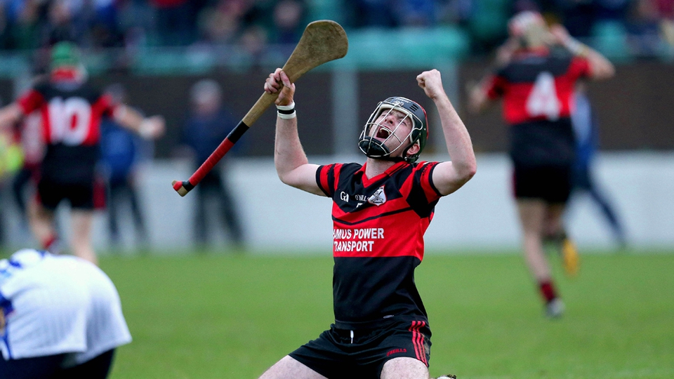 Derek Byrne of Mount Leinster Rangers celebrates as the Carlow side beat Ballyboden St Enda's in the Leinster Club SHC semi-final