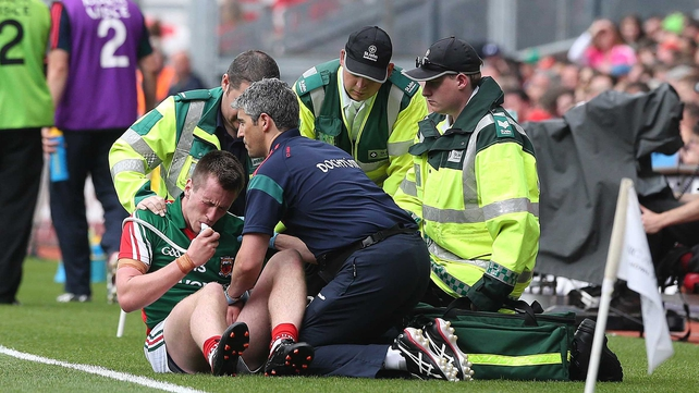Mayo's Cillian O'Connor receiving treatment for a recurrence of a shoulder in this year's All-Ireland semi-final against Tyrone