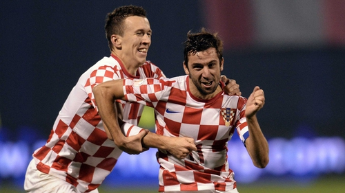 Darijo Srna celebrates scoring Croatia's second goal against Iceland