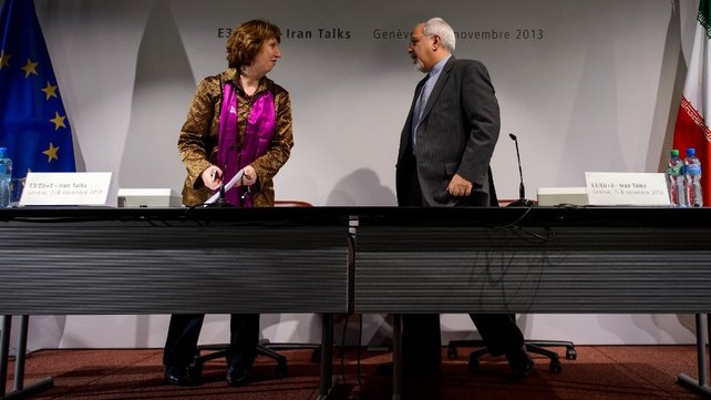 EU Foreign Police Chief Catherine Ashton and Iran's Foreign Minister Mohammad Javad Zarif at the end of talks in Geneva earlier this month
