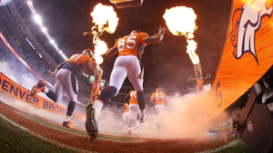 The Denver Broncos take the field for their game against the Kansas City Chiefs at Sports Authority Field at Mile High in Denver, Colorado