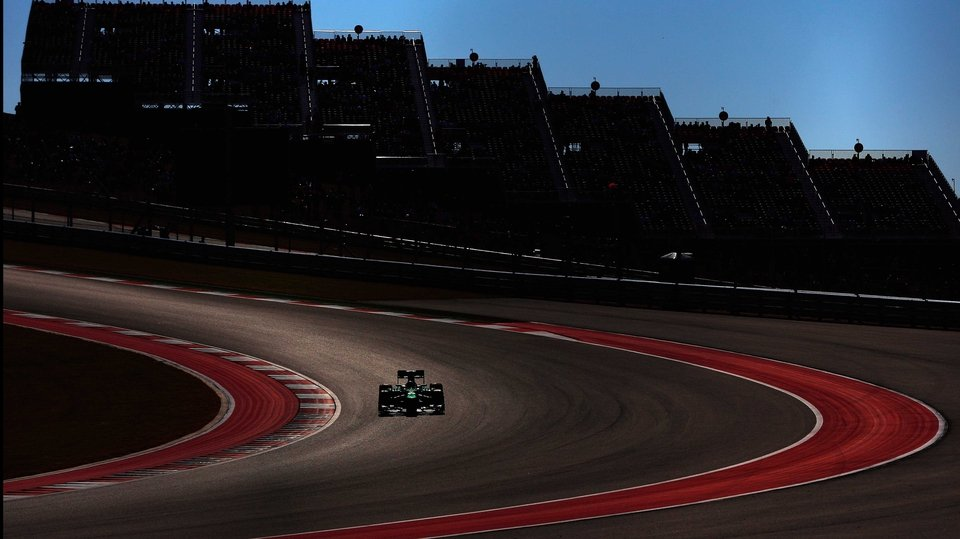 Charles Pic of France and Caterham drives during practice for the United States Formula One Grand Prix in  Austin, Texas