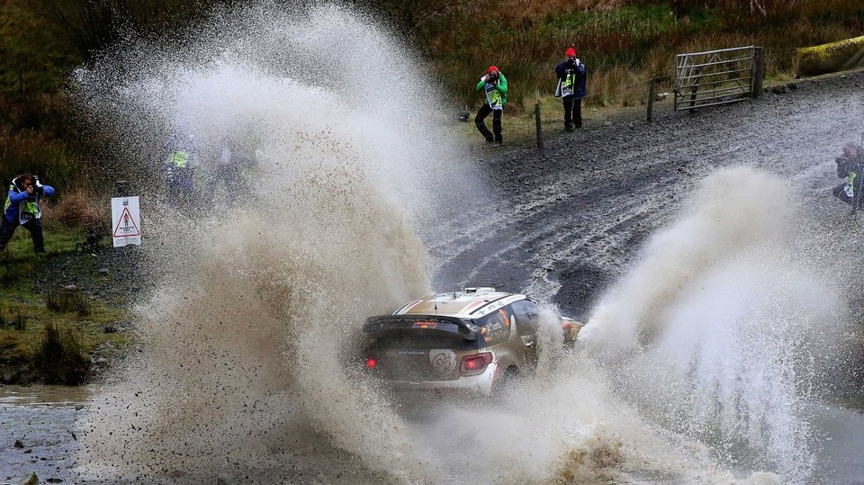 Dani Sordo and Carlos Del Barrio of Spain compete at the FIA World Rally Championship Great Britain in Llanidloes, Wales