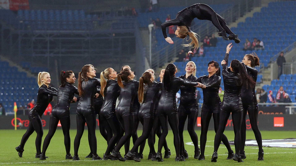 Dancers entertain the crowd before Ireland's friendly with Poland in Poznan