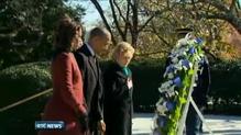 Barack Obama lays wreath at JFK's grave
