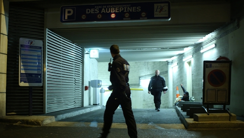 Police detained a suspect at an underground parking lot in the western Paris suburb of Bois-Colombes