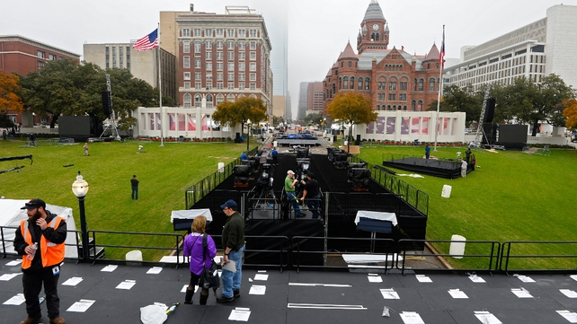 Preparations for the first official ceremony to mark the president's death in Dallas