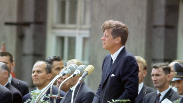 President Kennedy during his famous speech in front of the Schoeneberg town hall in Berlin in 1963