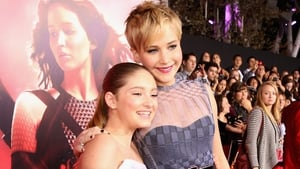 Willow Shields and Jennifer Lawrence at The Hunger Games: Catching Fire LA premiere