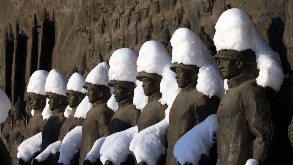 Statues are covered in snow after winter storms in Jilin in China