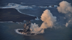 Elsewhere, a new island was created after an undersea volcanic eruption off the coast of Nishinoshima in Japan