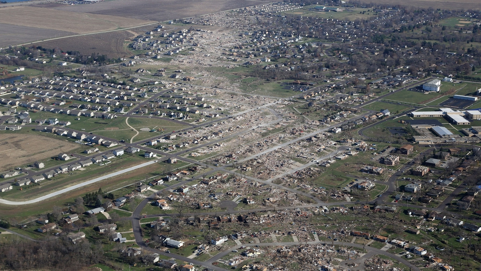 The path of a devastating tornado can be seen in Washington in Illinois