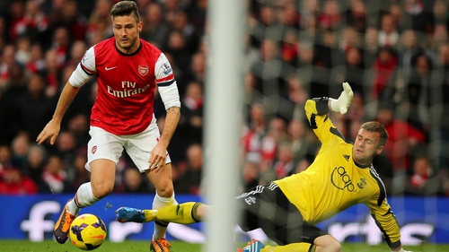 Oliver Giroud bagged a brace as Arsenal saw off Southampton's challenge