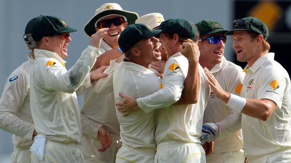 Australia's players celebrate victory