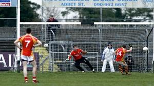 Neil Douglas of Castlebar Mitchels converts a penalty