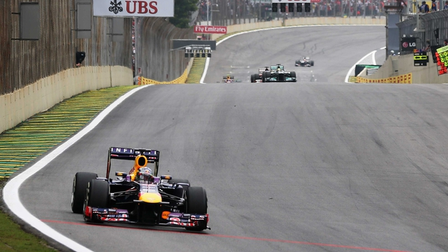 Sebastian Vettel en route to winning his ninth race in a row in Brazil