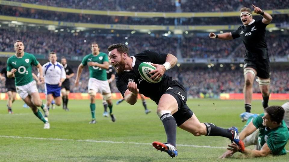 Ireland came within seconds of recording a first ever win against New Zealand but Ryan Crotty's converted try won it for the visitors