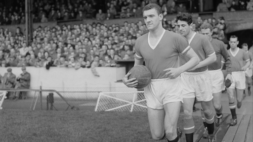 Manchester United captain Bill Foulkes leads his team onto the pitch, April 1958