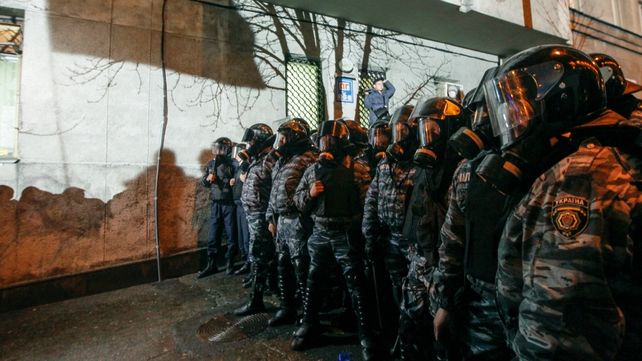 Police were out in force on Kiev's streets for a further day of protests