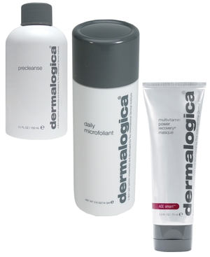 L-R, Dermalogica Precleanse, Daily Microfoliant and Multivitamin Power Recover Masque