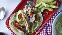 Mexican Fish Tacos - Fish tacos are a Californian classic, taking inspiration from wonderful Mexican heat and spice. They make a truly different feast to serve for friends. If you don't want to fire up the barbecue, the fish can easily be cooked on a griddle pan.